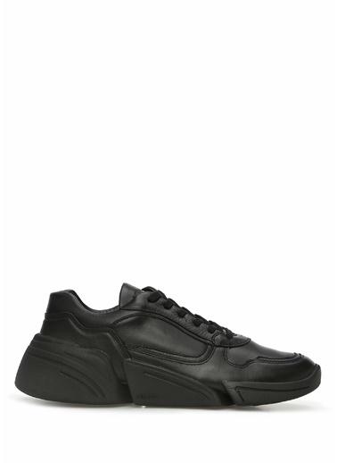 Kenzo Kenzo 101549822 Yuvarlak Burun Bağcıklı Deri Erkek Sneaker Siyah